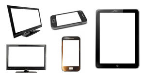 Monitor screens and smartphone Stock Image