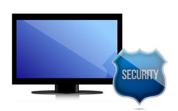 Monitor with security shield illustration design Royalty Free Stock Image