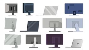 Monitor Set Vector. Different Types Modern Monitors, laptop. Office, Home, Computer Monitors Screen, Digital Display. HD. Gadget. Ultra HD Electronic PC stock illustration