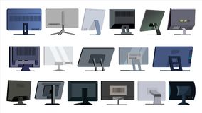Monitor Set Vector. Modern Monitors, Laptop. Office, Home, Computer Monitors Screen, Digital Display. Different Types. Ultra HD Electronic PC Screen Stock Photos