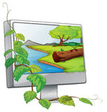 A monitor showing a river in a forest Royalty Free Stock Photography
