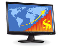 Monitor showing a world map. And schedule of the arrow and dollar signs on a white background Royalty Free Stock Images