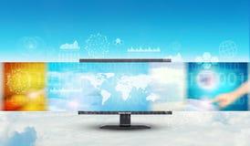 Monitor on sky background Royalty Free Stock Image