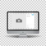 Monitor with social network photo frame Stock Photography