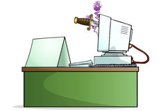 Monitor stab with blank message. Illustration of a computer monitor stab by knife with blank board sign beside it Royalty Free Stock Photography