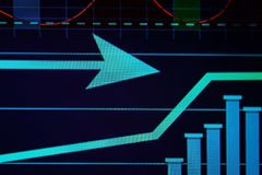 Monitor with stock data, closeup. Financial trading. Concept Stock Photo