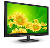 Monitor with sunflowers Stock Image