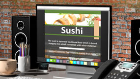 Monitor with Sushi recipe on desktop Royalty Free Stock Images