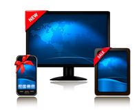 Monitor and tablet computer and mobile phone stock photography