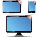 Monitor, tablet and smart phone with label Stock Photography