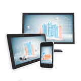 Monitor, tablet and smartphone Royalty Free Stock Image