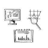 Monitor, taccuino e schizzi del grafico di affari Immagine Stock