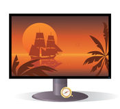 Monitor and tall ship Stock Images