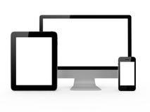 Monitor, telefono cellulare e compressa Fotografia Stock Libera da Diritti