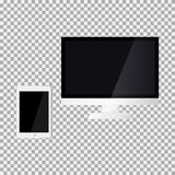 Monitor and touch pad on the grey background. Vector illustration Stock Photo