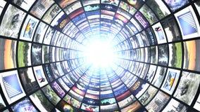 Monitor-Tunnel, Technologie-abstrakter Computer-Animations-Hintergrund Stockbild