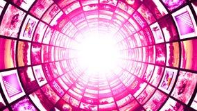 Monitor-Tunnel, Technologie-abstrakter Computer-Animations-Hintergrund Lizenzfreies Stockfoto