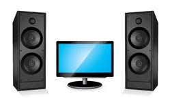 Monitor and two columns Royalty Free Stock Photography