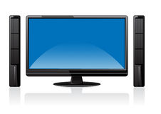 Monitor and two speaker Royalty Free Stock Images