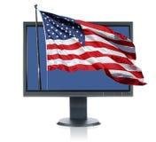 Monitor and USA flag stock photography