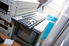 Monitor and VCR in television station Stock Photos