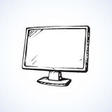 Monitor. Vector drawing. Big MacBook isolated on white backdrop. Monochrome freehand linear black ink hand drawn object sketchy in art scrawl style pen on paper Royalty Free Stock Photography