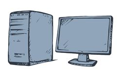 Monitor. Vector drawing. Power block base chassis cabinet and imac hd pad ui isolated on white backdrop. Freehand outline ink hand drawn picture sign sketchy in Stock Photo