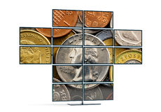 Monitor wall showing an image of a Dollar coin Royalty Free Stock Photography