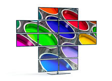 Monitor wall showing an image of Paint Buckets Stock Photography