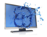 Monitor with water splash Royalty Free Stock Photo