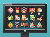 Monitor With A Beautiful Sports Icons Stock Photos