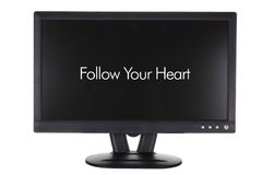 Monitor with Words of Inspiration. On White Background Stock Photography