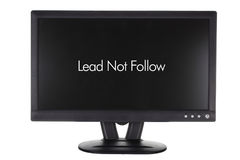 Monitor with Words of Inspiration. On White Background Stock Photos