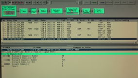 Monitor of working protocol tester in technical site stock video