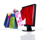 Monitor Xmas. A computer flat screen monitor in black with santa Royalty Free Stock Images
