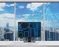 Monitor z rynek walutowy mapą Zdjęcie Royalty Free