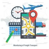 Monitoração do conceito do transporte de frete ilustração royalty free