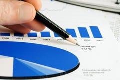 Monitoração dos dados do mercado de valores de acção. Fotos de Stock