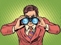Monitoraggio finanziario del binocolo dell'uomo d'affari del dollaro di valuta Fotografie Stock