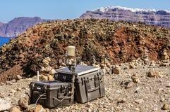 Monitoraggio sismico del vulcano di Santorini fotografia stock