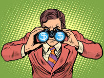 Monitoração financeira de binóculos do homem de negócios do dólar da moeda Fotos de Stock