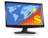 Monitore mostrar um mapa de mundo Imagens de Stock Royalty Free