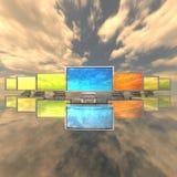 Monitores con las correspondencias en el cielo stock de ilustración