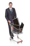 Monitores de compra do Lcd do homem de negócios alegre Foto de Stock
