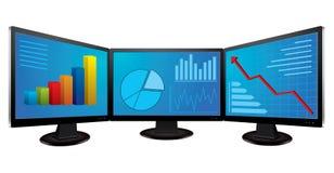 Monitores do computador com gráficos financeiros Fotos de Stock