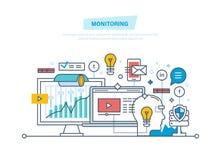 Monitoring, digital marketing, media planning, online business, data analysis, advertising. Monitoring, digital marketing, media planning, online business Royalty Free Stock Photos
