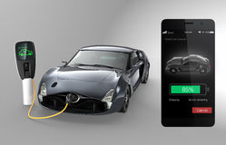 Monitoring electric car charging state by smart phone app Stock Photos