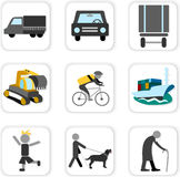 Monitoring icons. Vehicle and person Stock Photo