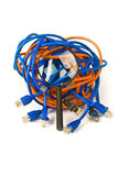 Monitoring network - concept. Magnifying glass and network cables royalty free stock image