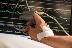 Monitoring of patient in hospital. Hand of hospitaled patient with needle and patch.Monitoring of  level  of oxygen Stock Photo